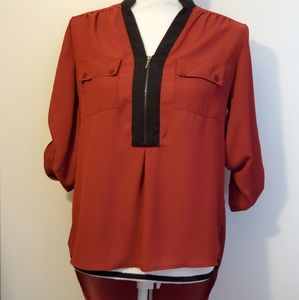 Takara maroon hi low blouse